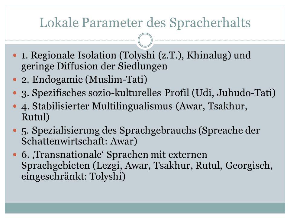 Negative Parameter des Spracherhalts 1.Großflächige Diffusion (Tolyshi) 2.