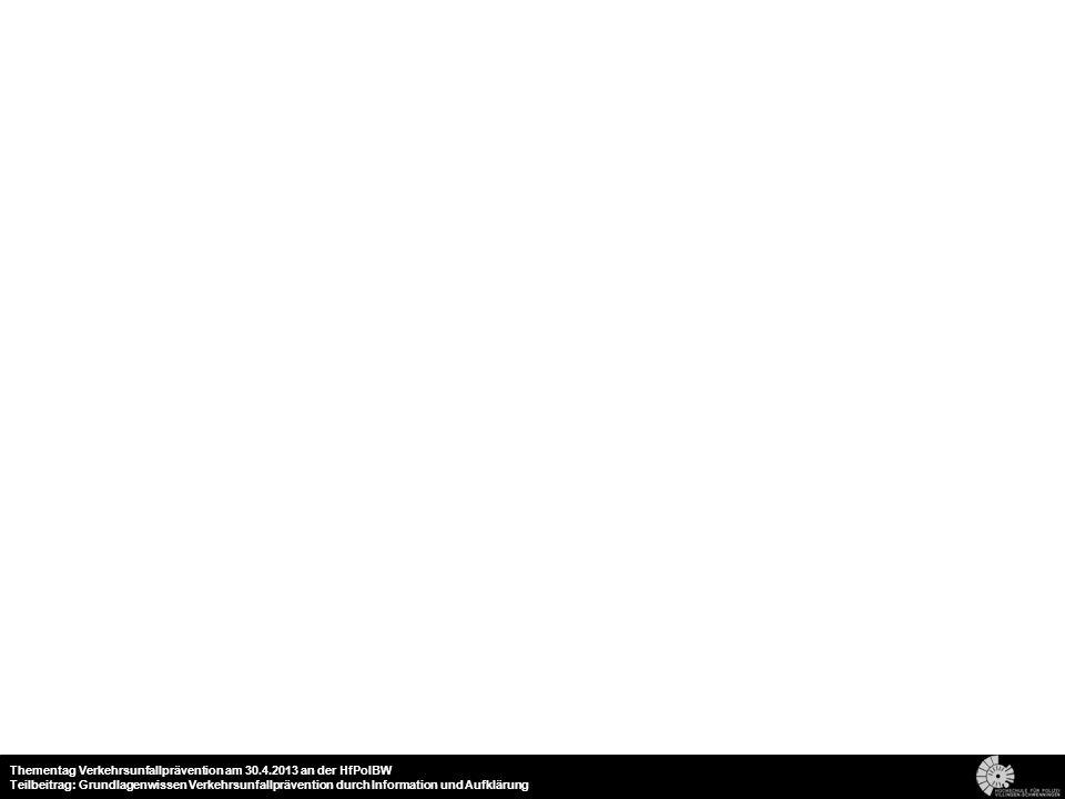 19 Thementag Verkehrsunfallprävention am 30.4.2013 an der HfPolBW Teilbeitrag: Grundlagenwissen Verkehrsunfallprävention durch Information und Aufklärung
