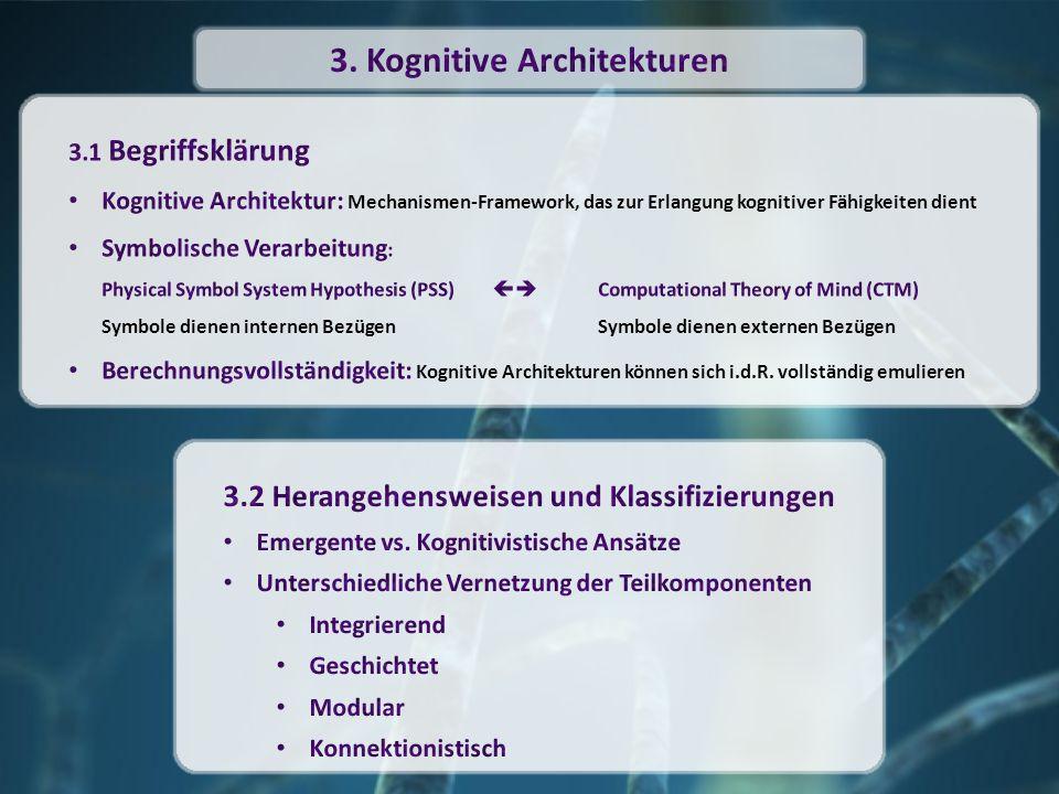 In kognitiven Architekturen: durch symbolische Ausdrücke beschrieben Objekte und Fakten durch Eigenschaftslisten repräsentiert unabhängig von Architektur In kognitiven Architekturen: Definieren von Ableitungsregeln mit deren Hilfe aus bereits bestehenden neue Fakten gewonnen werden abhängig von Architektur 8