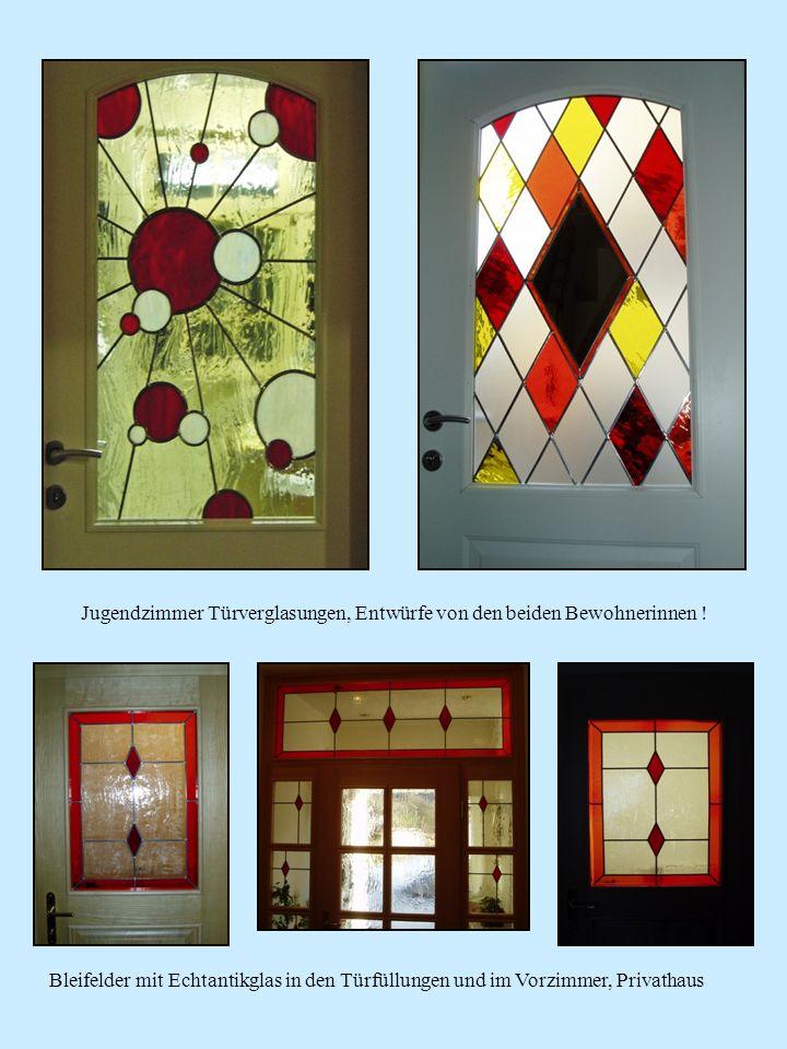 Spiegel für Jugendstil – Villa in Reichenau/Rax.Türverglasung mit dem Motiv von Koi Fischen.