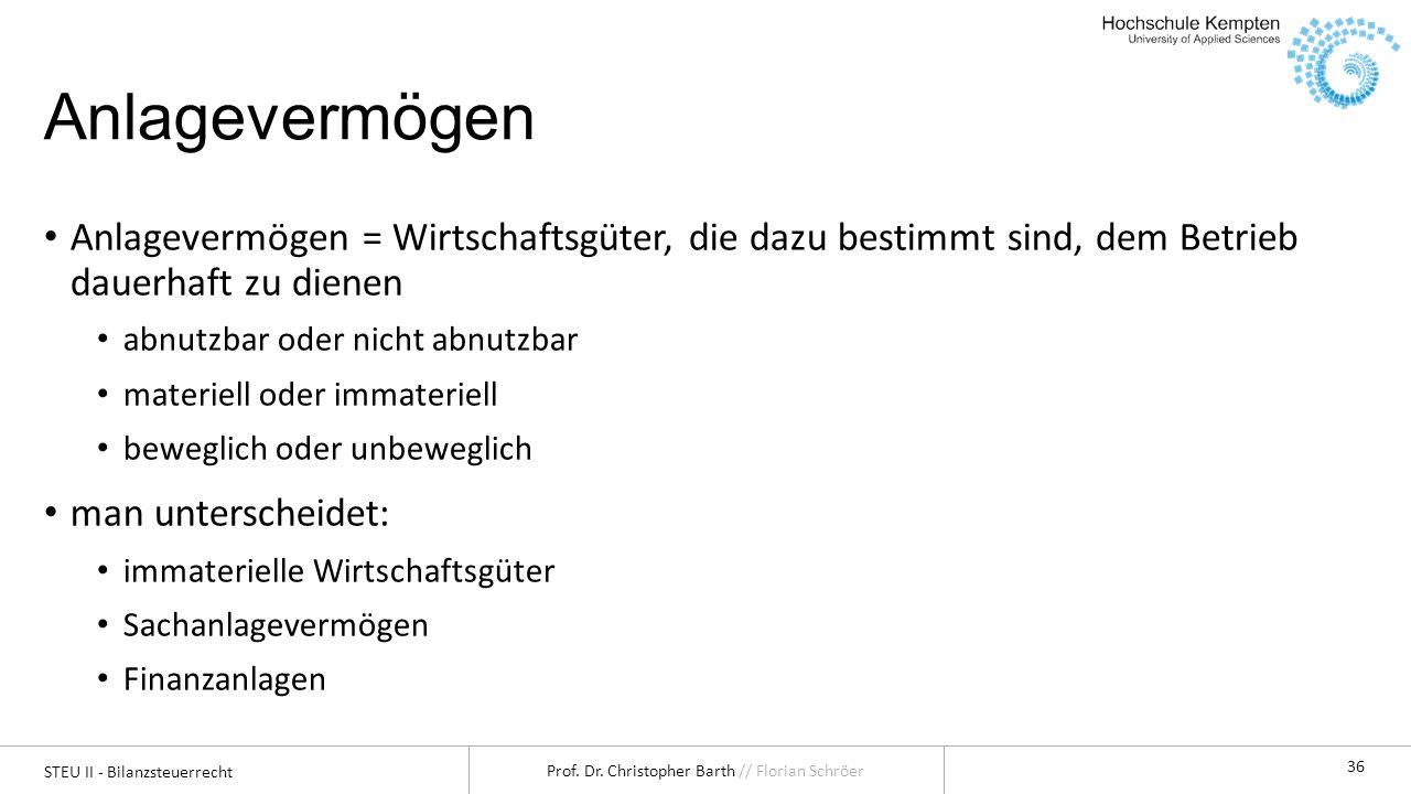 STEU II - Bilanzsteuerrecht Prof.Dr. Christopher Barth // Florian Schröer 37 1.1.