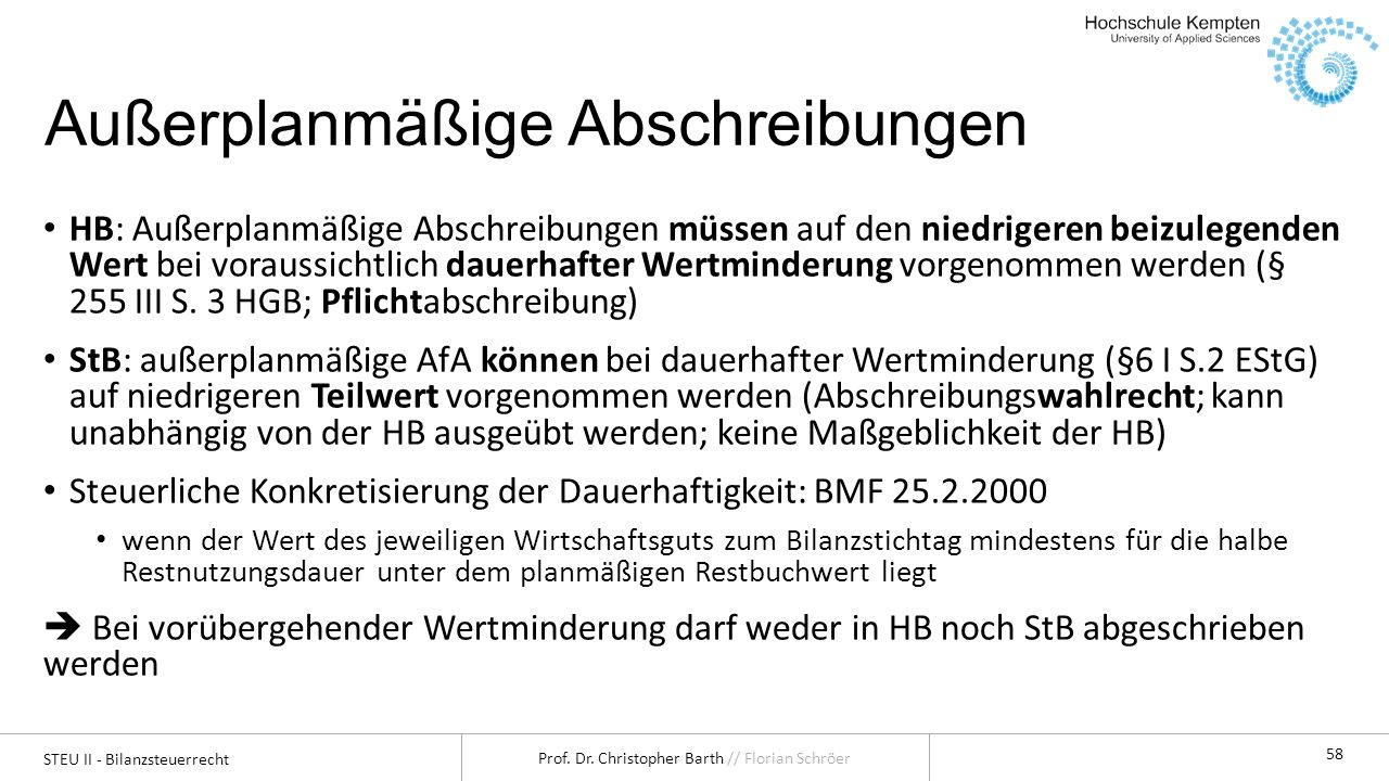 STEU II - Bilanzsteuerrecht Prof.Dr. Christopher Barth // Florian Schröer 59 Was ist der Teilwert.