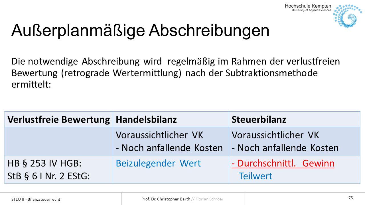 STEU II - Bilanzsteuerrecht Prof.Dr. Christopher Barth // Florian Schröer 76 2.2.