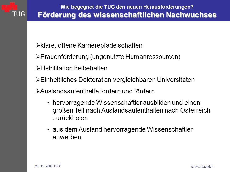 © W.v.d.Linden 28. 11. 2003 TUG 2 Die TU Graz blickt zuversichtlich in die Zukunft