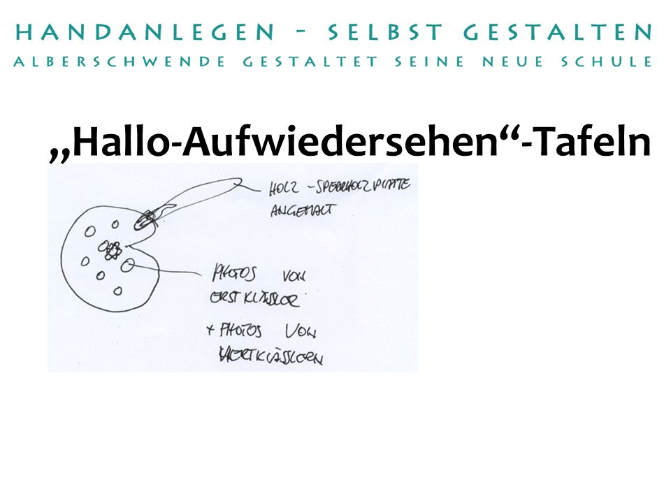 Handwerksbetriebe:Tischlerei Raimund Dür fetzcolor / Michael Fetz Betreuerin:Karin Kastler Hallo-Aufwiedersehen-Tafeln