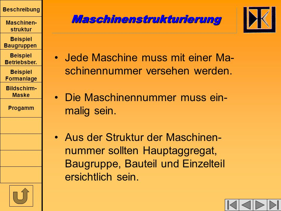 Beschreibung Maschinen- struktur Beispiel Baugruppen Beispiel Betriebsber.