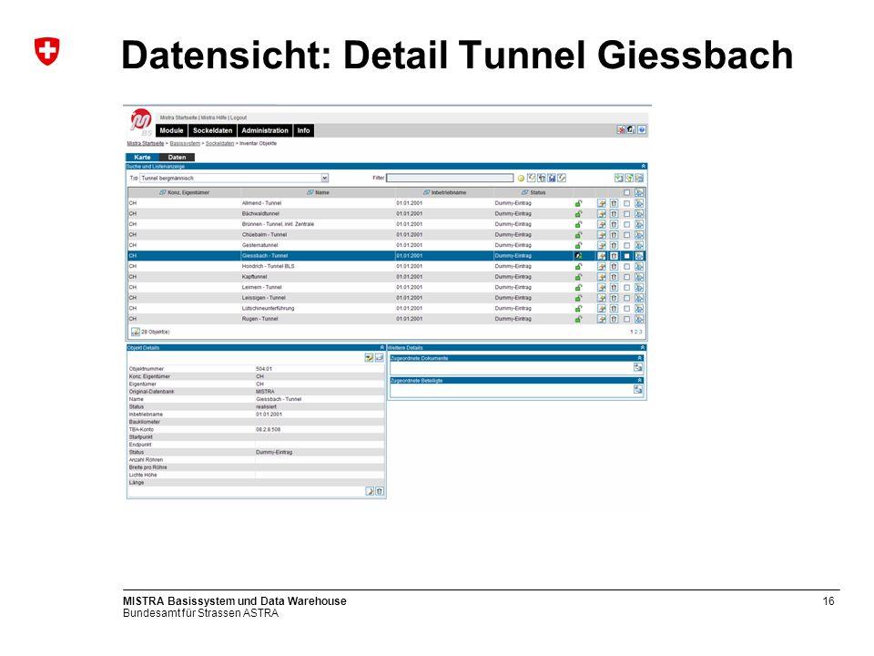 Bundesamt für Strassen ASTRA MISTRA Basissystem und Data Warehouse17 Kartensicht Giessbachtunnel