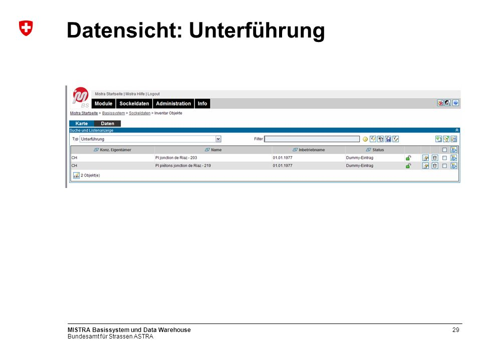 Bundesamt für Strassen ASTRA MISTRA Basissystem und Data Warehouse30 Update Request Unterführung