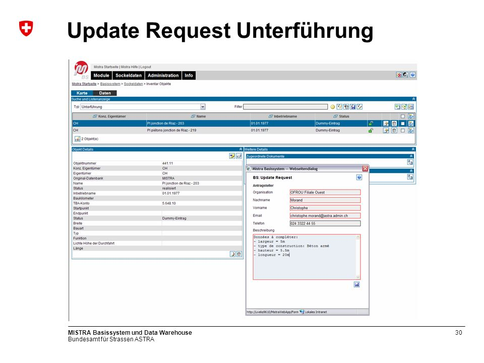 Bundesamt für Strassen ASTRA MISTRA Basissystem und Data Warehouse31 Kartensicht Unterführung