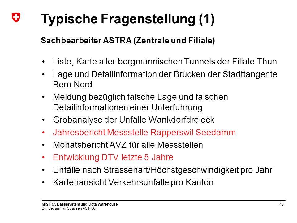 Bundesamt für Strassen ASTRA MISTRA Basissystem und Data Warehouse46 DWH: Standard Report