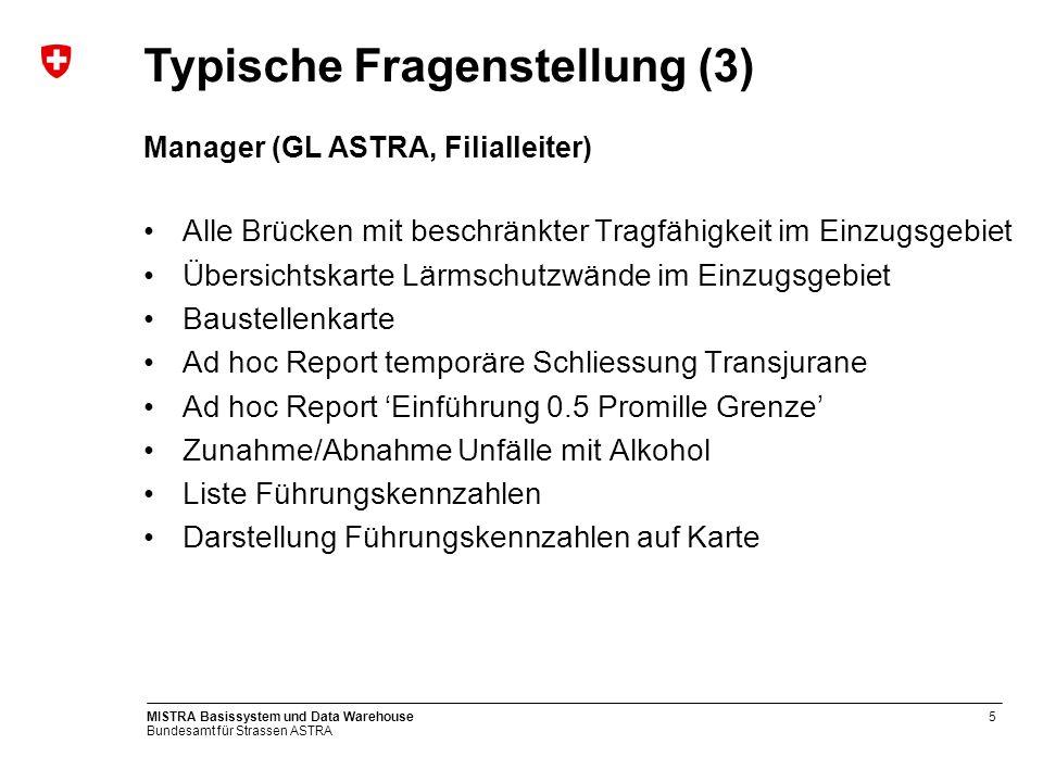 Bundesamt für Strassen ASTRA MISTRA Basissystem und Data Warehouse6 Übersicht Gesamtsystem BS DWH GIS DWH