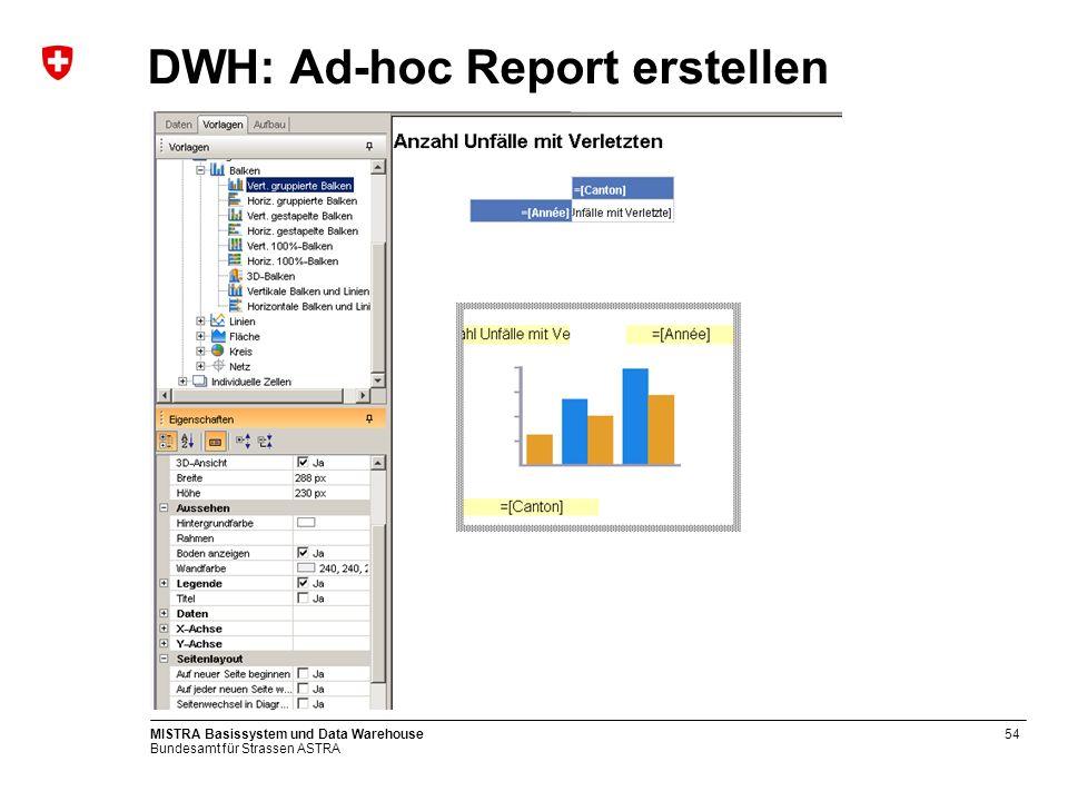 Bundesamt für Strassen ASTRA MISTRA Basissystem und Data Warehouse55 DWH: Ad-hoc Report (Ergebnis)