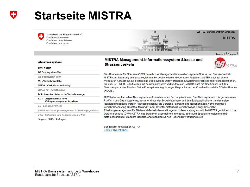 Bundesamt für Strassen ASTRA MISTRA Basissystem und Data Warehouse8 Basissystem Übersicht MISTRA-Fachapplikationen MISTRA-Basissystem MISTRA-Sockeldaten Kostenmanag.