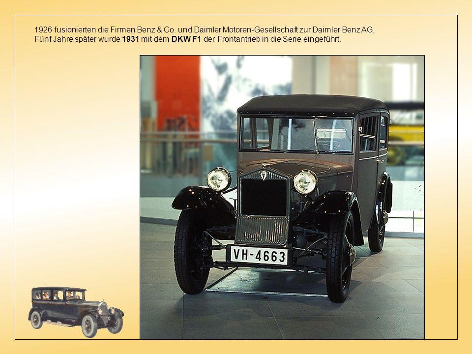 1926 fusionierten die Firmen Benz & Co.und Daimler Motoren-Gesellschaft zur Daimler Benz AG.