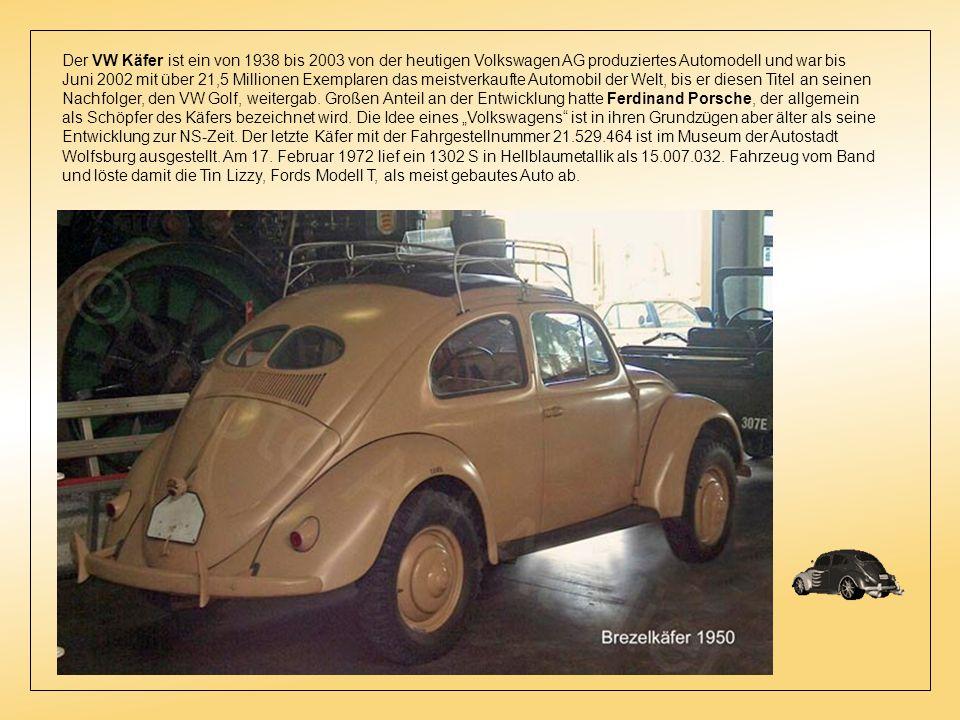 Der VW Käfer ist ein von 1938 bis 2003 von der heutigen Volkswagen AG produziertes Automodell und war bis Juni 2002 mit über 21,5 Millionen Exemplaren das meistverkaufte Automobil der Welt, bis er diesen Titel an seinen Nachfolger, den VW Golf, weitergab.