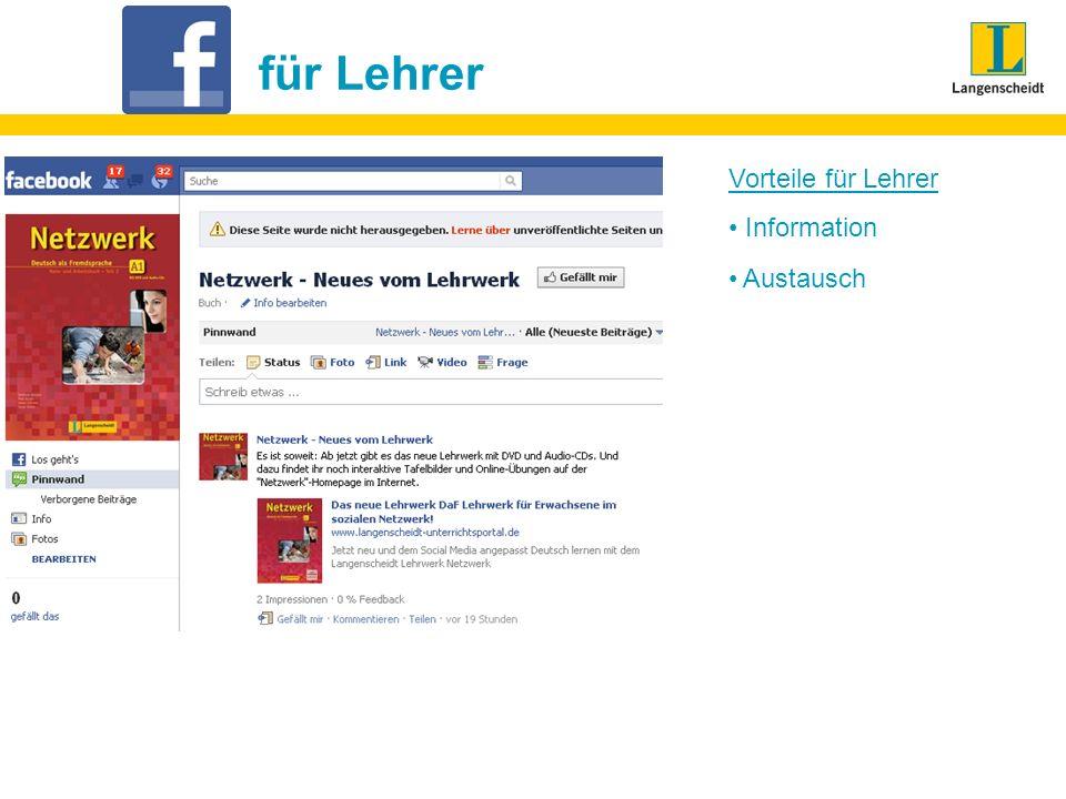Fazit natürlich kommunizieren keine Angst vor Fehlern, da in diesem Medium nicht relevant weiterer Lernort Deutschland authentisch erleben Lerner befragen, was auf Facebook passiert Facebook-Inhalte (Fotos, Videos, Links) selbst im Unterricht aufgreifen Lerner aufLehrer auf