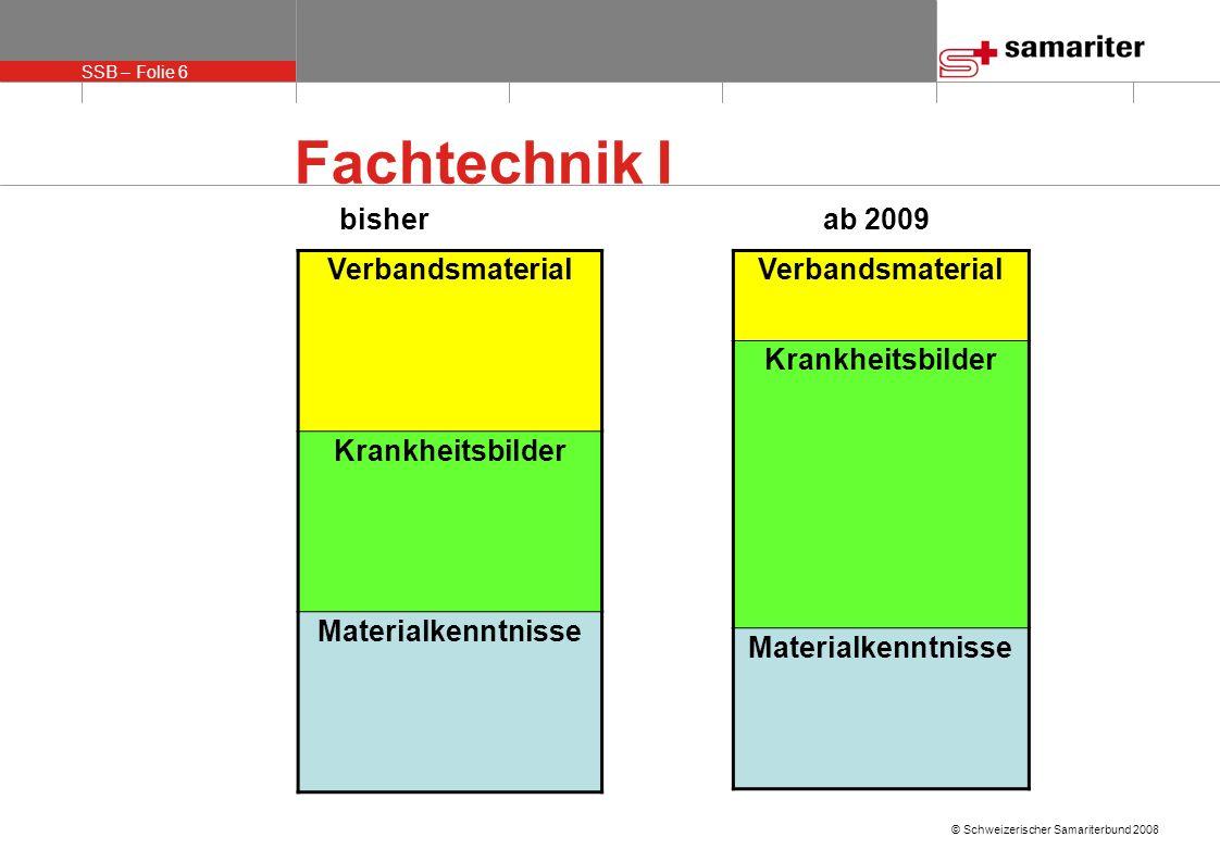 SSB – Folie 7 © Schweizerischer Samariterbund 2008 Fachtechnik I Die Teilnehmer setzen sich zu Hause intensiv mit allen Krankheitsbildern auseinander, so dass sie im Kurs nach 45 Minuten Vorbereitungszeit in der Lage sind, das ihnen zugeteilte Thema zu präsentieren.