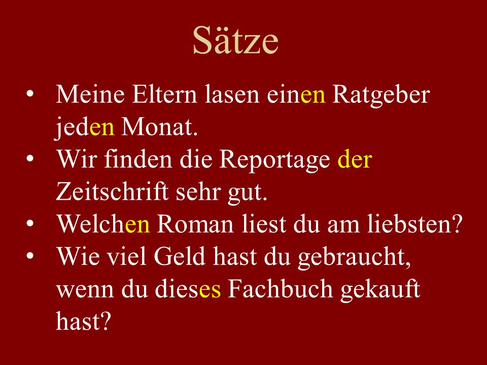 Sätze (an der Tafel) When I was young, I liked to read (poetry / short stories).