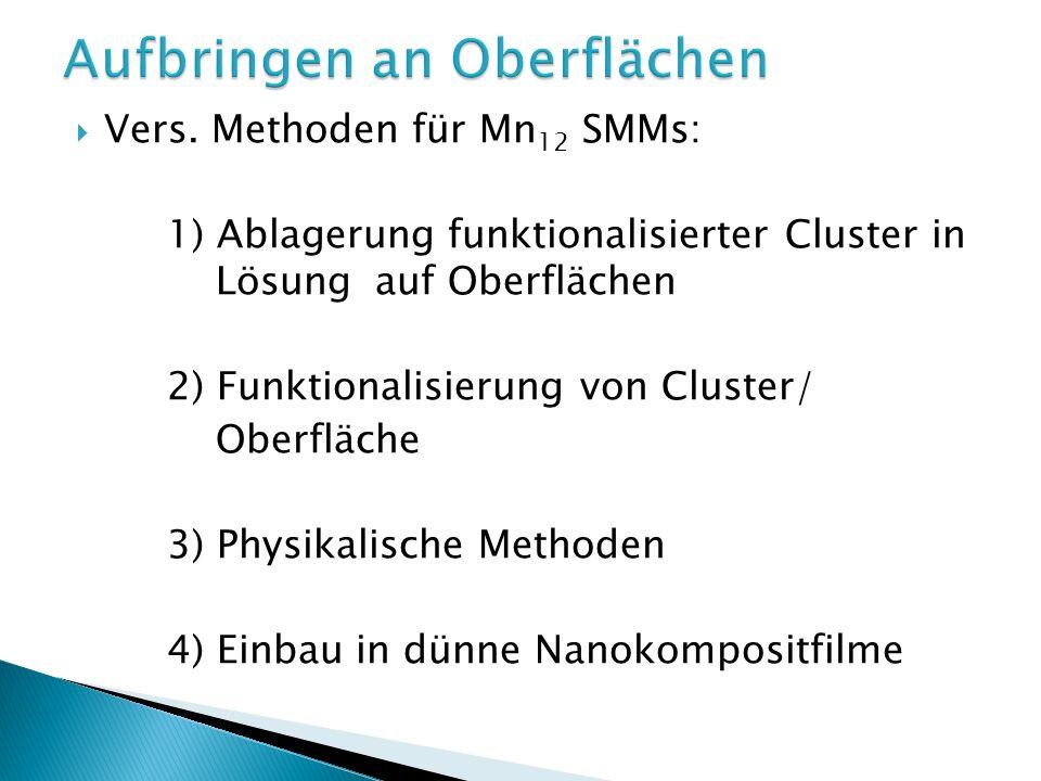 1) – breath-figures Methode: Wassertropfen als Template Mn12 und CH 2 Cl 2 als Lösungsmittel HOPG Oberfläche