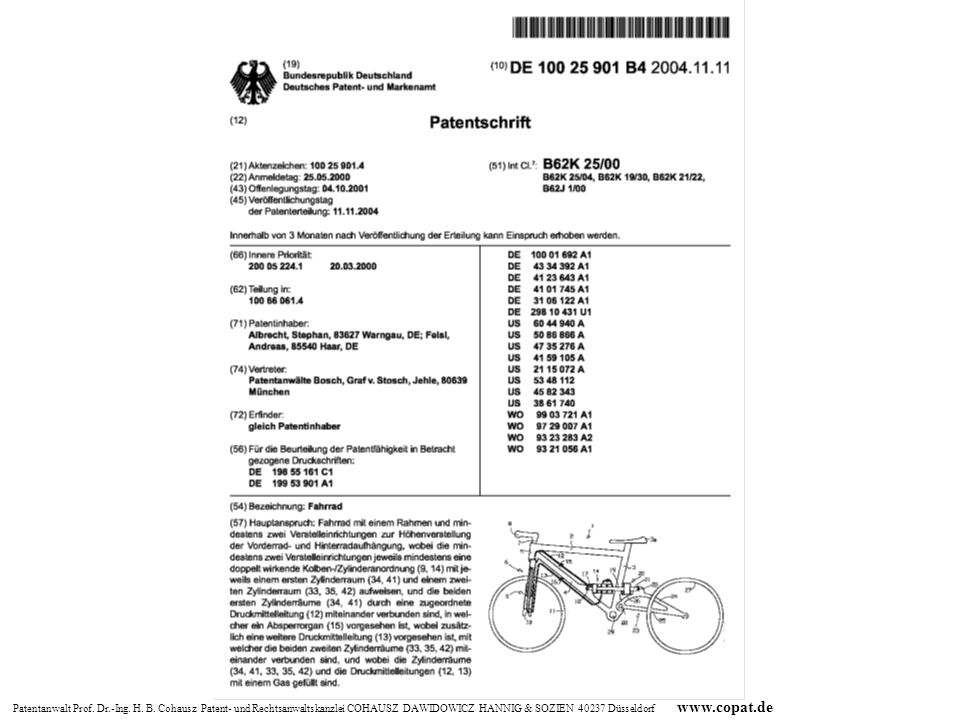 EinspruchsverfahrenPrüfungsverfahren AnmeldetagOffenlegungErteilung Entschädigung nach Lizenz 33 PatG 18 Monate Schadensersatz 139 PatG und Unterlassung Rechte des Patentinhabers Rechte des Patentinhabers-fett.ppt