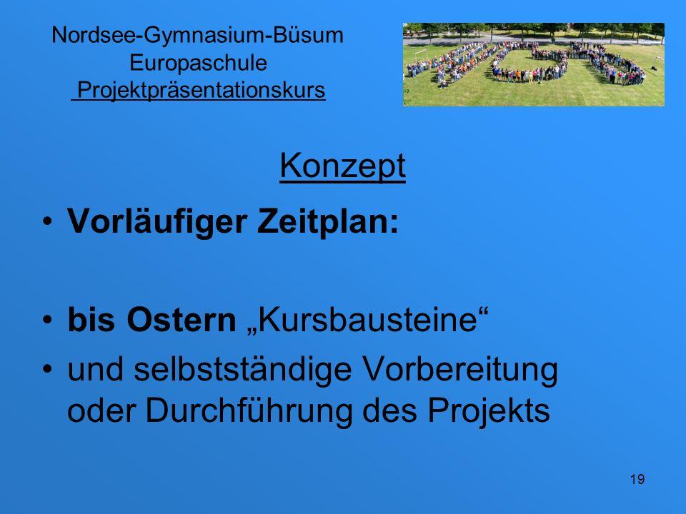 Nordsee-Gymnasium-Büsum Europaschule Projektpräsentationskurs Vorläufiger Zeitplan: nach Ostern selbstständige Arbeitsphasen, bis incl.