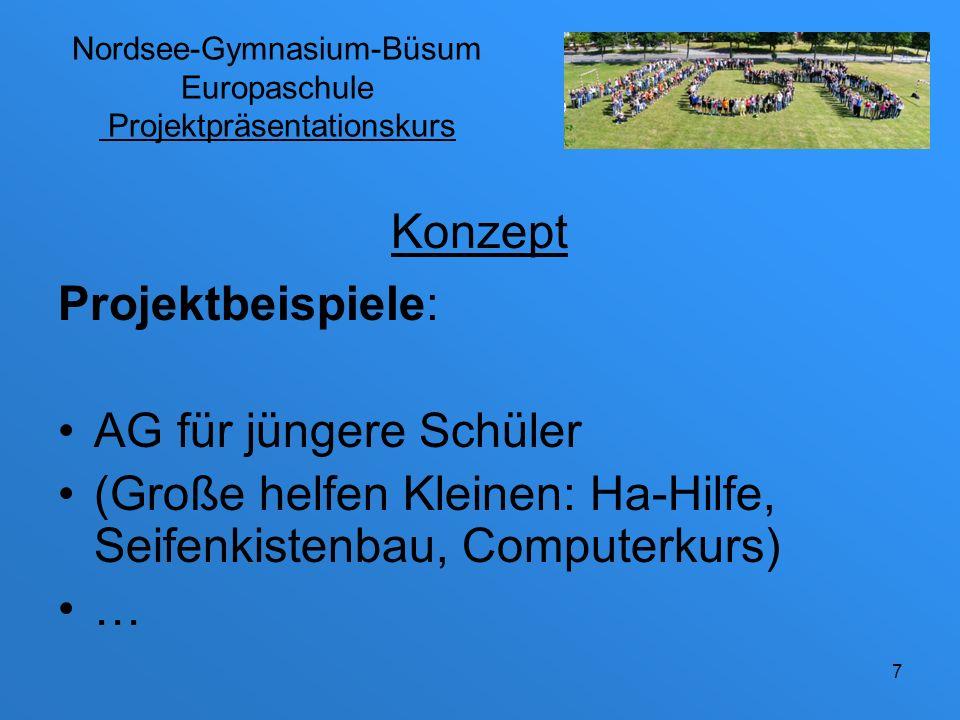 Nordsee-Gymnasium-Büsum Europaschule Projektpräsentationskurs Das Projekt kann getrennt von der Präsentation durchgeführt werden, z.B.