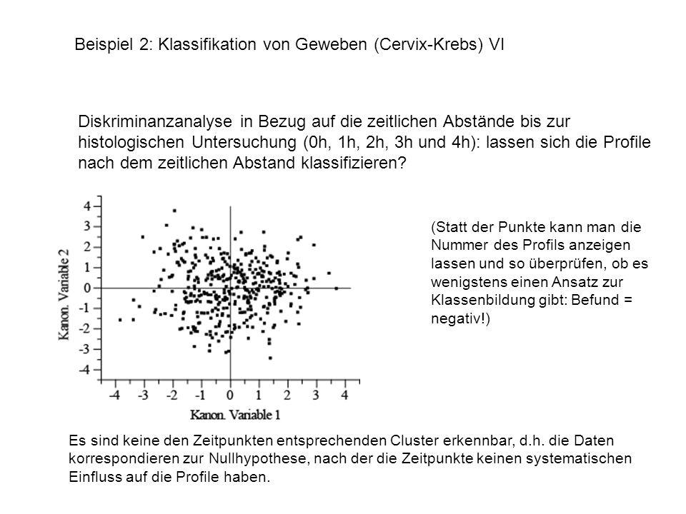 Beispiel 2: Klassifikation von Geweben (Cervix-Krebs) VI Folgerung: da es keine systematischen Unterschiede zwischen den Untersuchungszeitpunkten zu geben scheint, können alle Profile zu einer Stichprobe zusammengefasst werden.