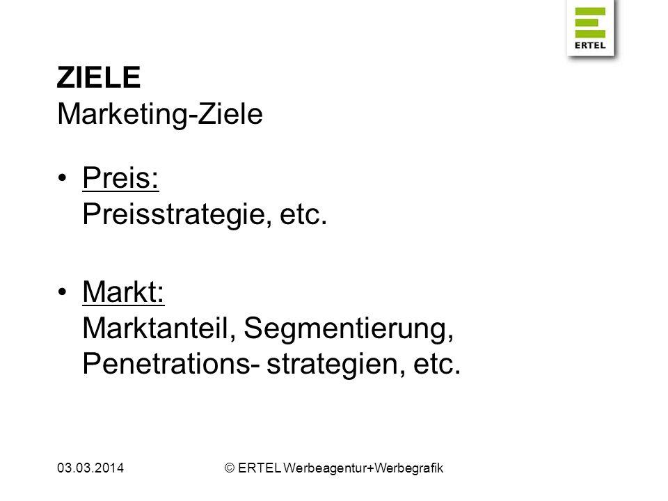 ZIELE Marketing-Ziele Werbung: Werbestrategie (Schwerpunkte), etc.
