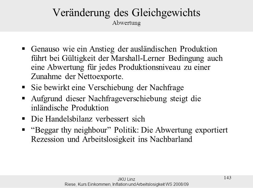 JKU Linz Riese, Kurs Einkommen, Inflation und Arbeitslosigkeit WS 2008/09 144 Veränderung des Gleichgewichts Abwertung kurzfristig führt eine Abwertung zu einer Verschlechterung der Handelbilanz; sinkt, aber weder die Exporte noch die Importe reagieren.