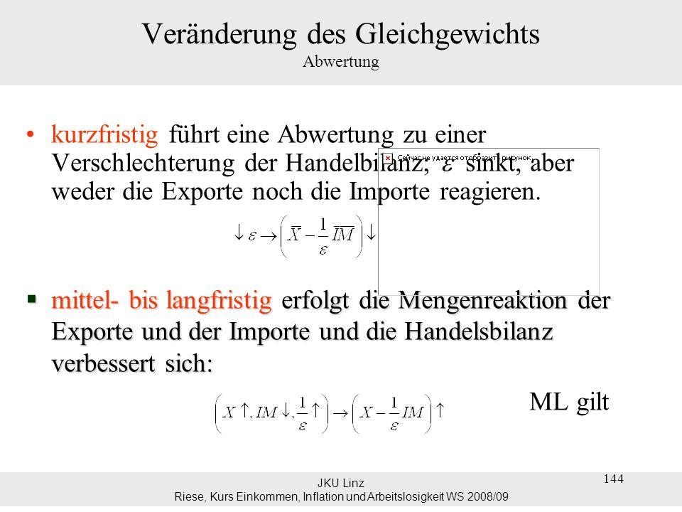 JKU Linz Riese, Kurs Einkommen, Inflation und Arbeitslosigkeit WS 2008/09 145 Veränderung des Gleichgewichts Abwertung Eine reale Abwertung führt zunächst zu einer Verschlechterung und erst dann zu einer Verbesserung der Handelsbilanz.