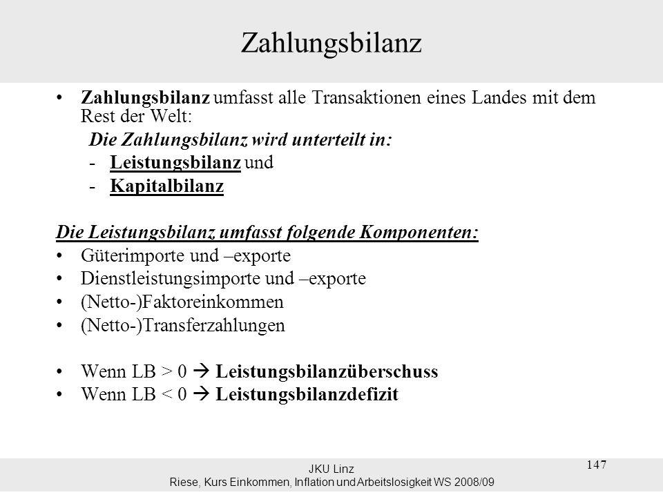 JKU Linz Riese, Kurs Einkommen, Inflation und Arbeitslosigkeit WS 2008/09 148 Zahlungsbilanz Die öster.