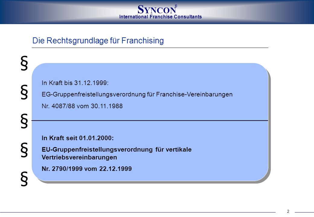 International Franchise Consultants S YNCON ® 3 Die Franchise-Definition...