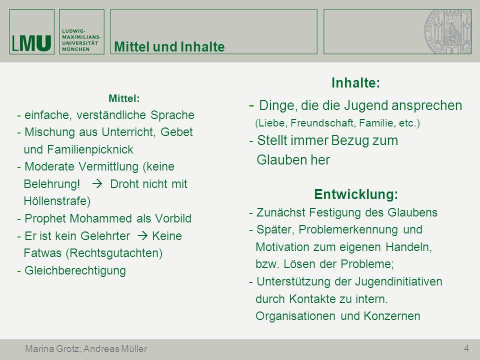5 Marina Grotz; Andreas Müller Problematik er ist kein Theologe Kontakt zu Muslimbruderschaften Keine Äußerungen zu Politik und Theologie Angebliche Geldschneiderei