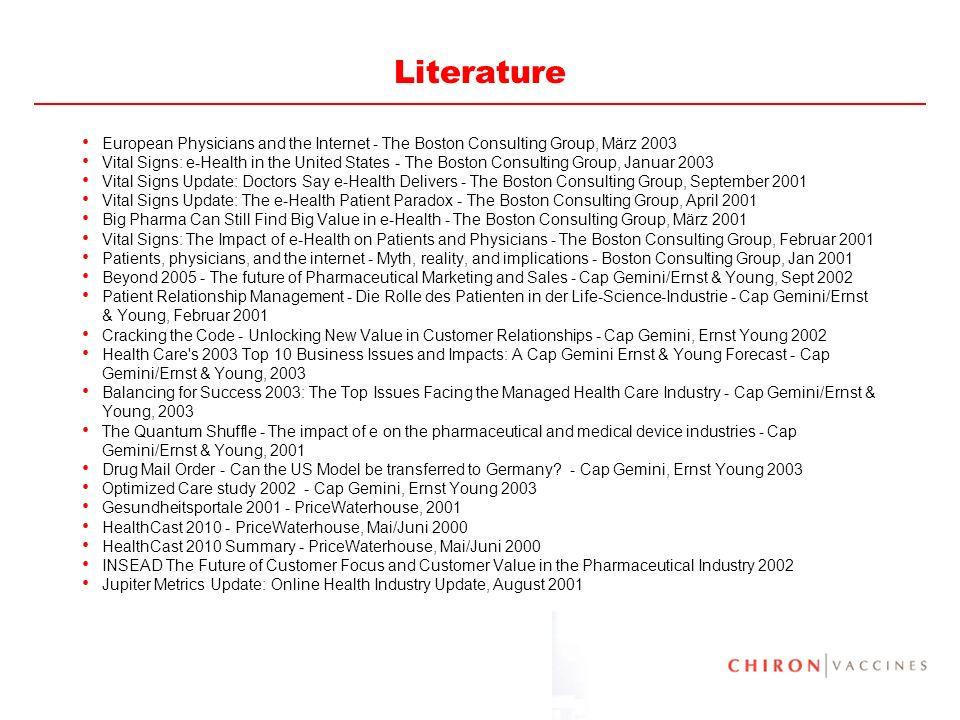82 Literature INSEAD e-Health in Europe 2000 INSEAD Online Pharma Marketing and Segmentation J.
