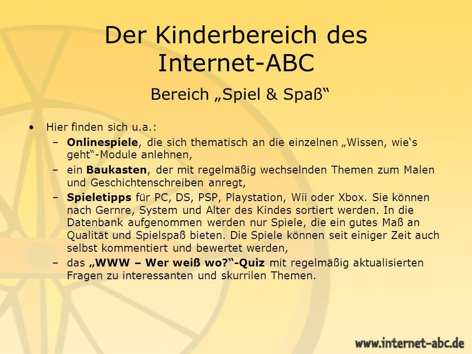 Der Kinderbereich des Internet-ABC Bereich Spiel & Spaß Baukasten Spieletipps