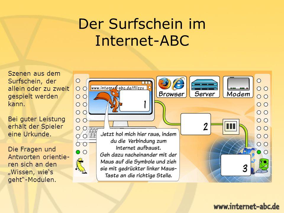 Der Surfschein im Internet-ABC Übung in der Praxisphase Für Kenner des Internet-ABC
