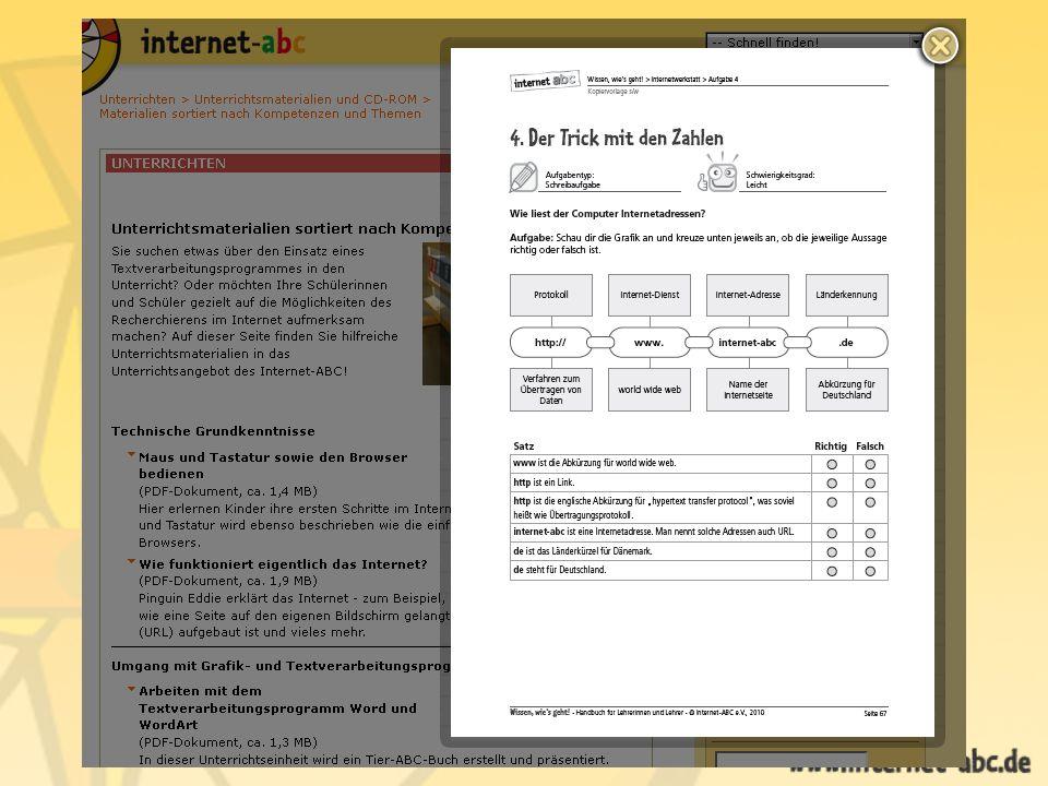 Internet-ABC Bereich Unterrichten Schülerhilfen Linktipps f.d.Schule Thematisch sortiert für Klassen 1 – 6 Rechercheratgeber Tipps und Links Software zum Lernen Hausaufgabenhilfe Wie das Internet hilft Übung in der Praxisphase Für Einsteiger ins Internet - ABC