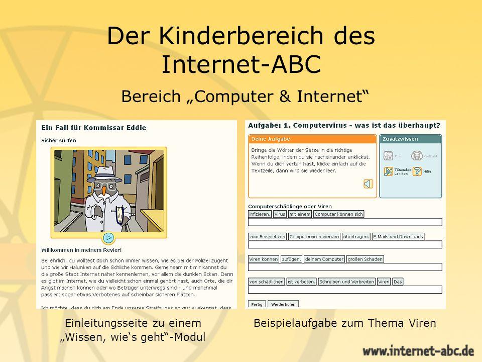 Der Kinderbereich des Internet-ABC Bereich Computer & Internet Szenen aus dem Surfschein, der allein oder zu zweit gespielt werden kann.