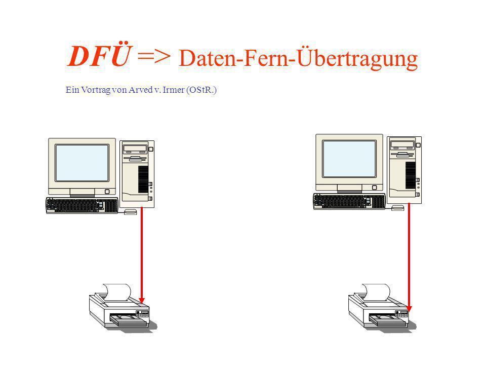 DFÜ => Daten-Fern-Übertragung Ein Vortrag von Arved v. Irmer (OStR.)