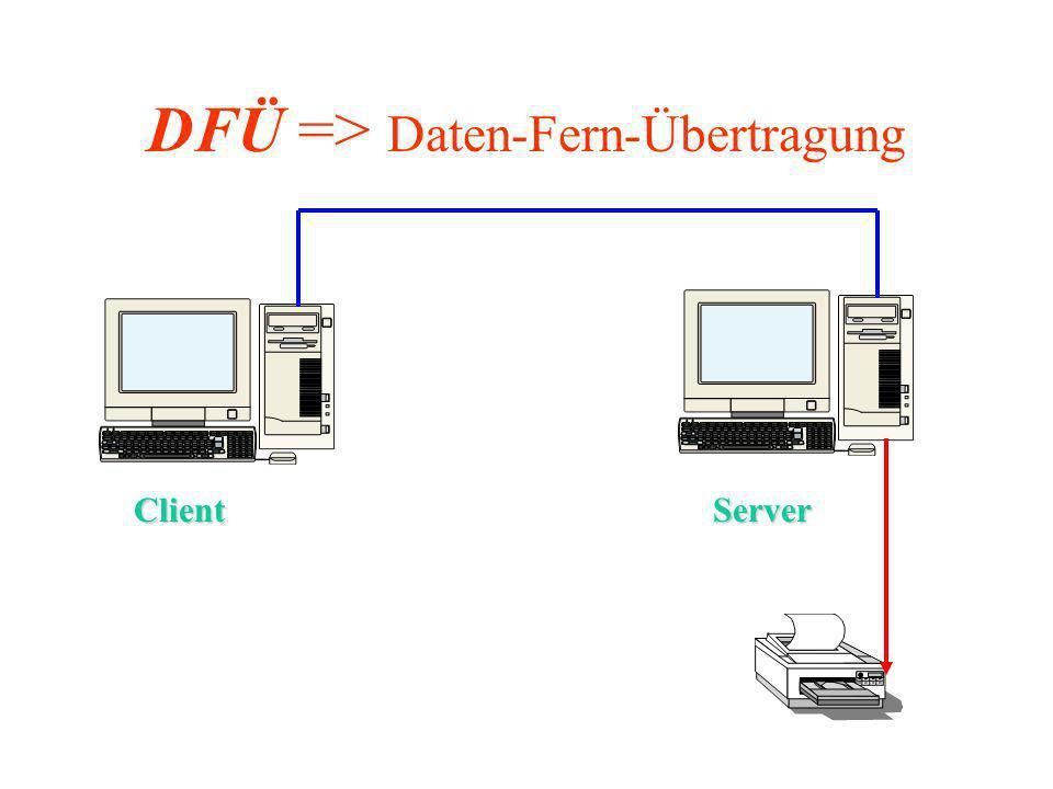 DFÜ => Daten-Fern-Übertragung ServerClient