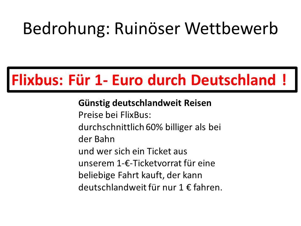 Bedrohung: Konzentration Was wäre, wenn DeinBus und Mein Fernbus mit ADAC und Deutsche Post zusammen am Markt agieren.