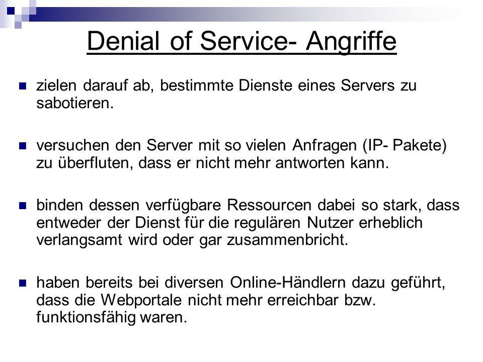 Präventive Maßnahmen gegen DoS nur Server mit hoher Leistungsreserve verwenden.