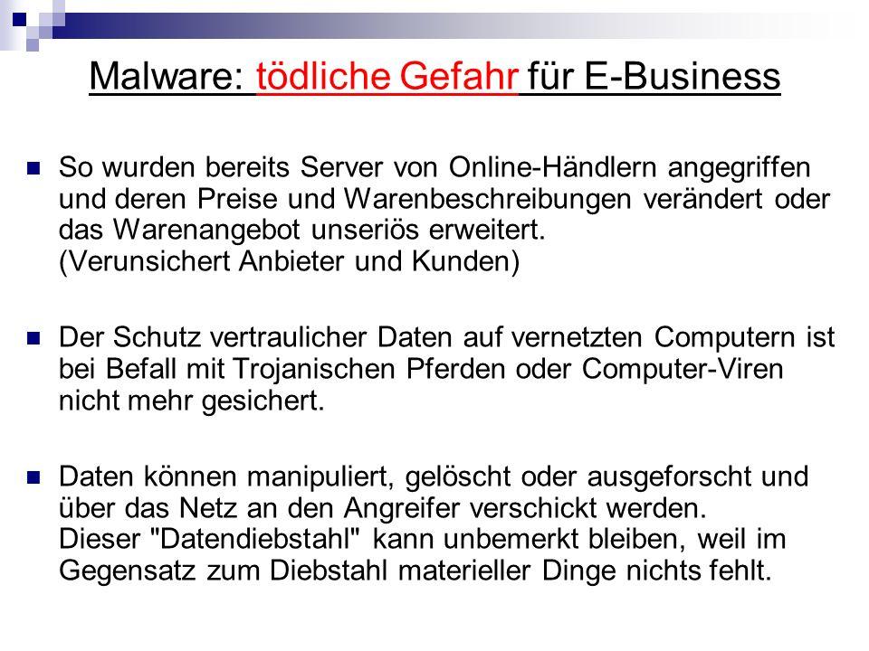Schutzmaßnahmen MalwaretypMaßnahmen Trojanische Pferde Immer in Kombination einzusetzen sind: - Antivirus-Software (On-Access- u.