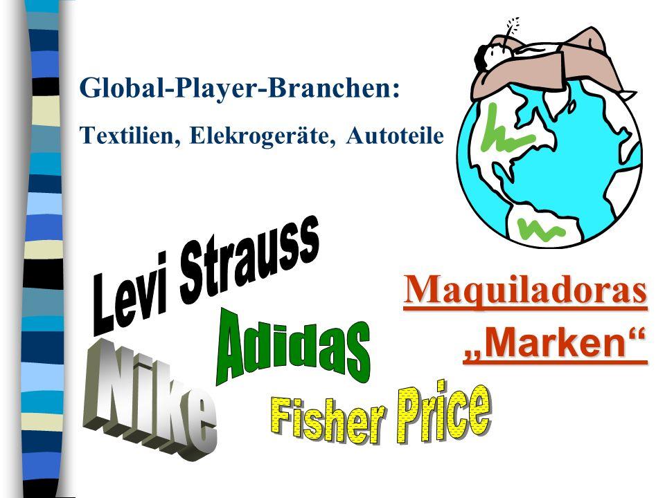 Global-Player-Branchen: Textilien, Elekrogeräte, Autoteile MaquiladorasMarken