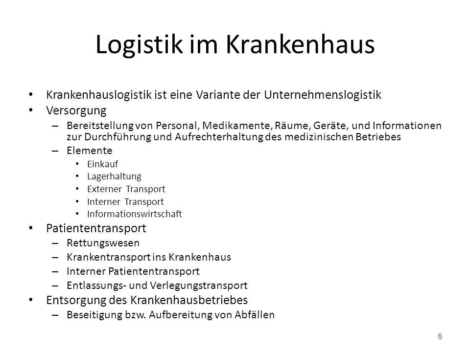 Aufgabenbereiche der Krankenhauslogistik Beschaffung & Einkauf Lagerlogistik inner- betriebliche Transporte Informations- logistik 7