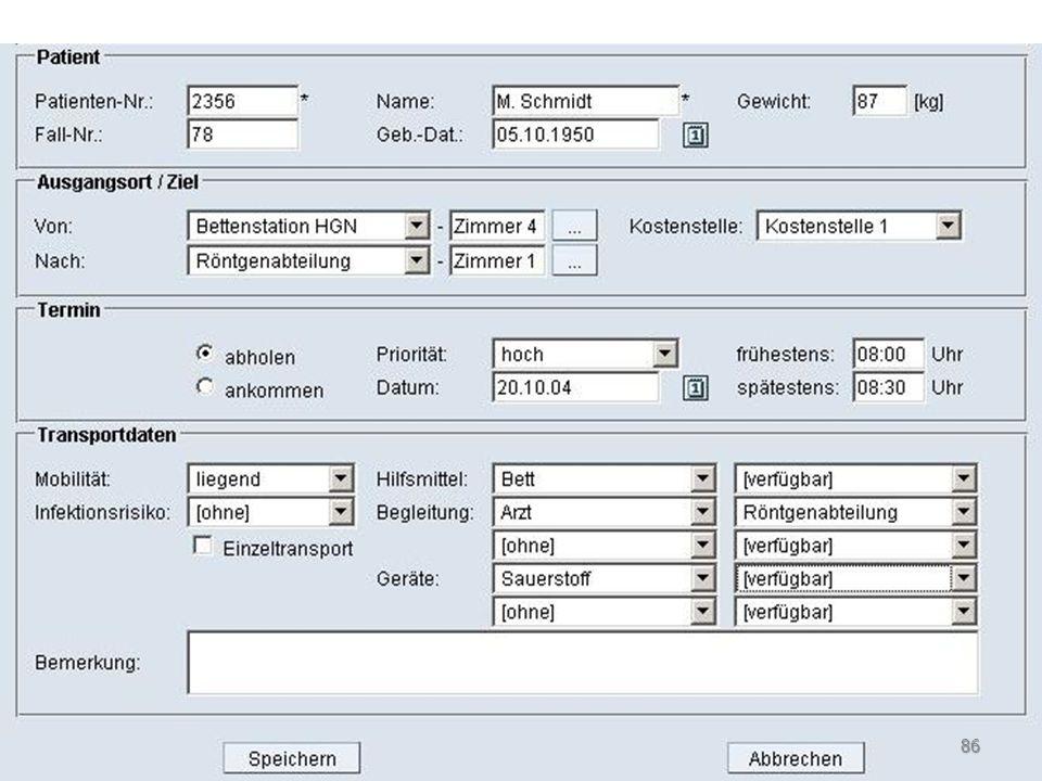 Optimierung Algorithmen nutzen Wissen in Datenbasis (Wegezeiten, Kapazitäten der verfügbaren Transportmittel,...) Automatische Disposition der Transportaufträge in Echtzeit Automatische Reaktion / Umplanung nach jeder Situationsänderung (z.B.