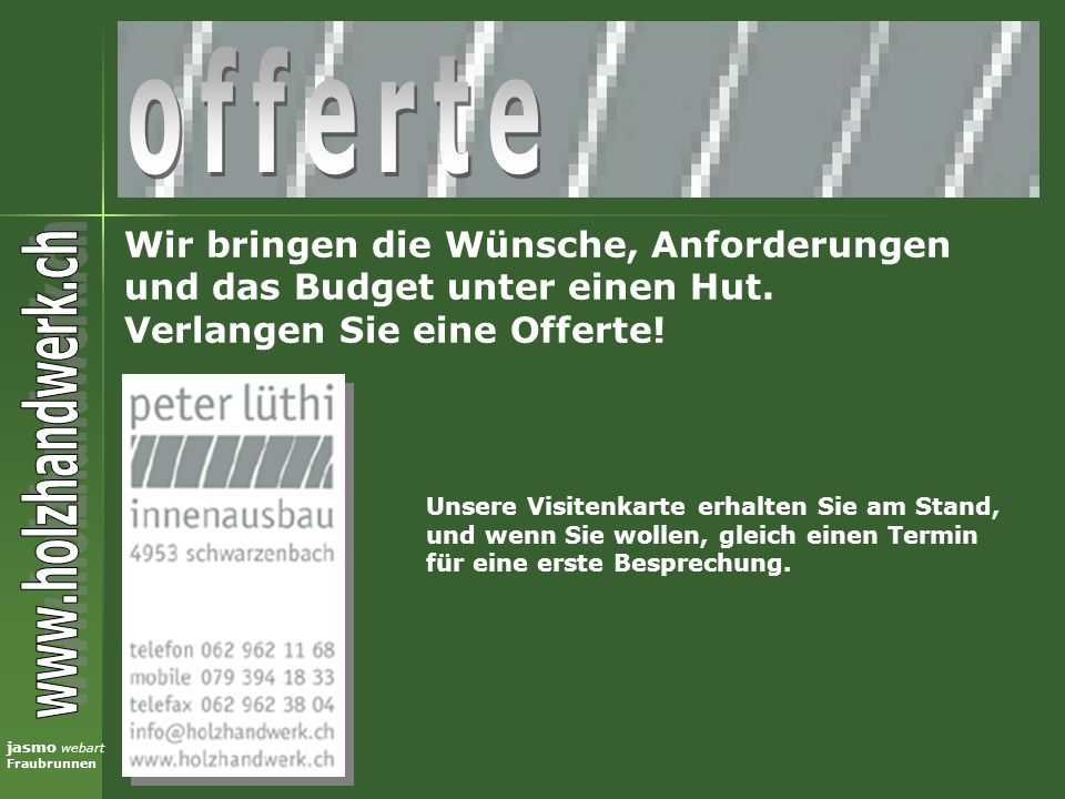 jasmo webart Fraubrunnen Stets offene Türe zu unserer Website!