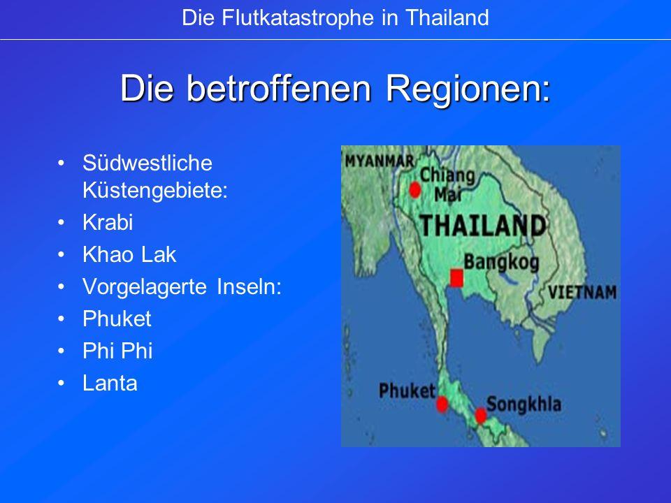 Auswirkungen auf den Tourismus ¼ weniger ausländische Touristen 60 % der Urlauber sagten geplanten Urlaub ab Rund zwei Jahre Wiederaufbau an der Küste Thailands 200.000 der insgesamt rund 3Mio.