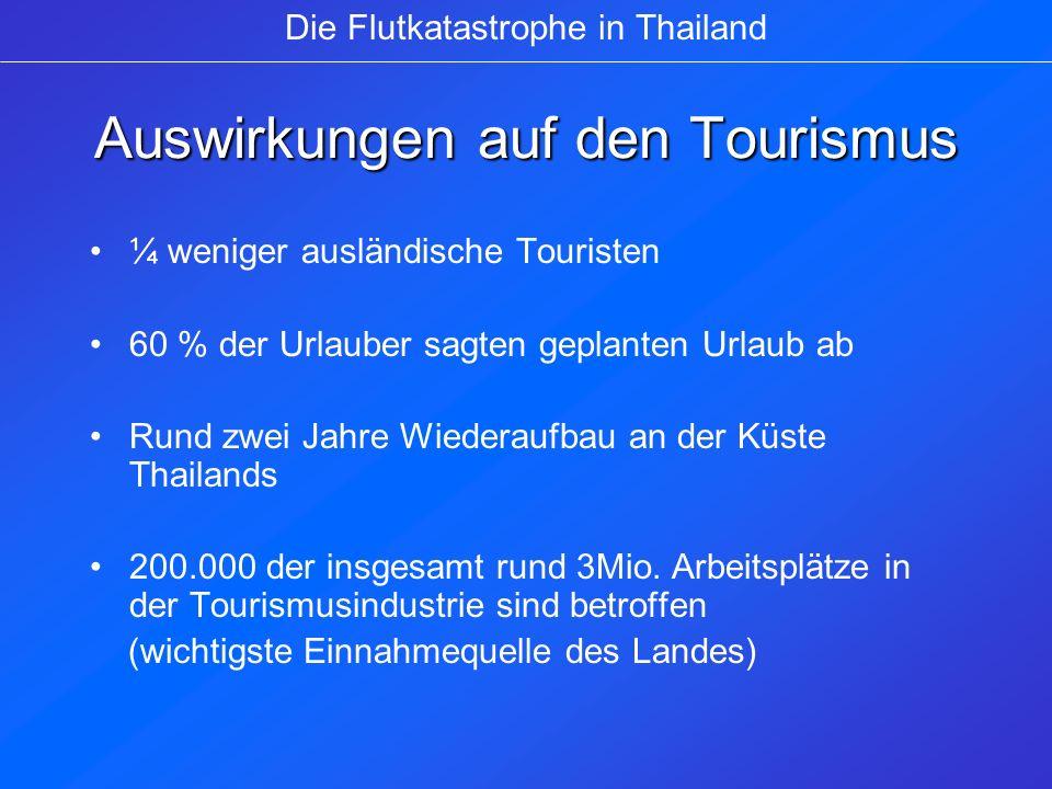 Tourismusverhalten zu Thailand Reiseveranstalter befördern zunächst keine Touristen mehr in die verwüsteten Tourismuszentren Das Auswärtige Amt rät dringend von Reisen in die betroffenen Gebiete ab Zahlreiche Touristen weichen bereits auf die Inseln im Golf von Thailand aus Die Flutkatastrophe in Thailand
