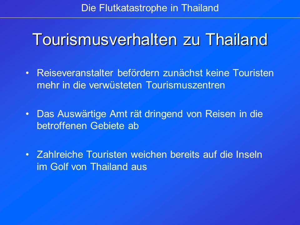 Wiederaufnahme des Tourismus Phuket nimmt den normalen Touristenbetrieb wieder auf Die Thai Air hat ihren Flugbetrieb wieder aufgenommen (Passagierrückgang um 10%) Werbekampagnen: Reisen für Reisebüromitarbeiter und Presse Die Flutkatastrophe in Thailand